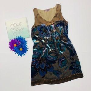 Hale' Bob Sleeveless Brown & Blue Beaded Dress